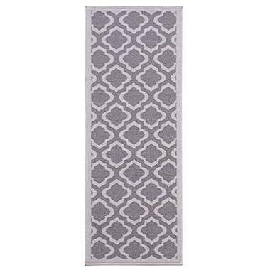 Diagona Designs Contemporary Moroccan Trellis Design Non-Slip Runner Rug, 20  W x 59  L, Grey & Charcoal