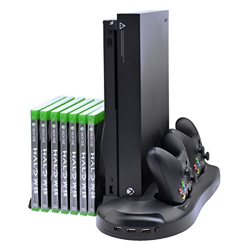 Charging Station for Xbox One X,Charging Dock for Xbox One X Accessories with 2 Fans,3 USB hubs and Game Rack for Organization and Charge (Only for XBOX ONE X)
