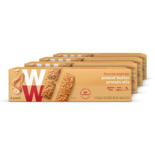 WW Peanut Butter Protein Stix - Gluten-free, High Protein Snack Bar, 2 SmartPoints - 4 Boxes (24 Count Total) - Weight Watchers Reimagined