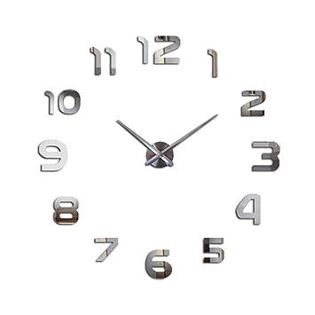 Amazon.com: Watch Clocks Horloge 3D DIY Acrylic Mirror Stickers Home Decoration Living Room Quartz Needle Wall Clocks (Color : Silver, Size : 90~150cm): ...