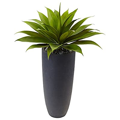 """Nearly Natural 38"""" H Agave Artificial Plant in Planter Green"""