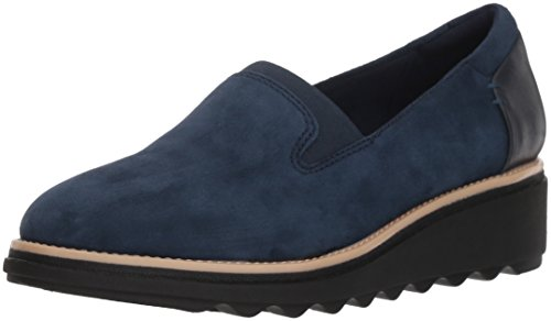 Clarks Women's Sharon Dolly Loafer, Navy Suede, 9.5 M US