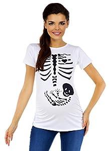 085c Zeta Ville para Mujer T-Shirt Camiseta premam/á Estampado de Esqueleto