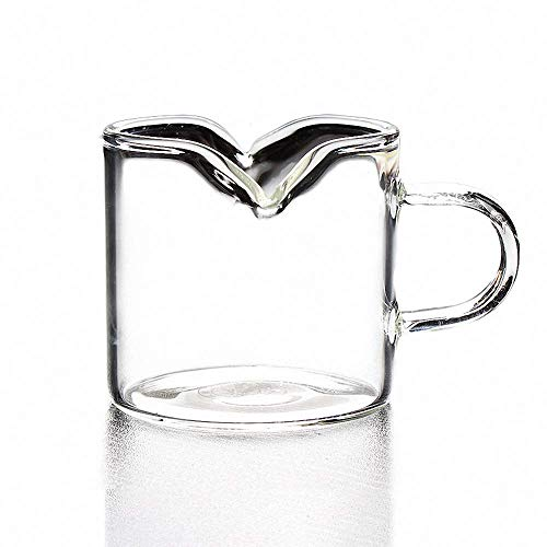 (Creative Crystal Glass Mini Creamer Double Spout Coffee Milk Tea Pitcher Honey Jug Sauce Pitcher Jug Vase Syrup Dressing Server Mug Cup Creamer with Handle for Kitchen Home Decor)
