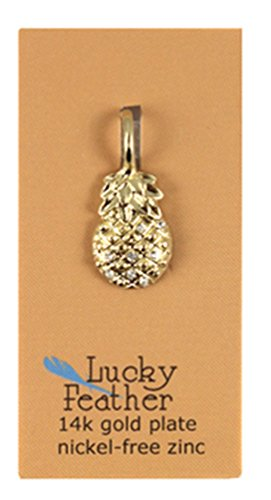 Lucky Feather Charm Builder Matte Gold Plated bling Pineapple Hospitality Charm by Lucky Feather Charm Builder (Image #1)