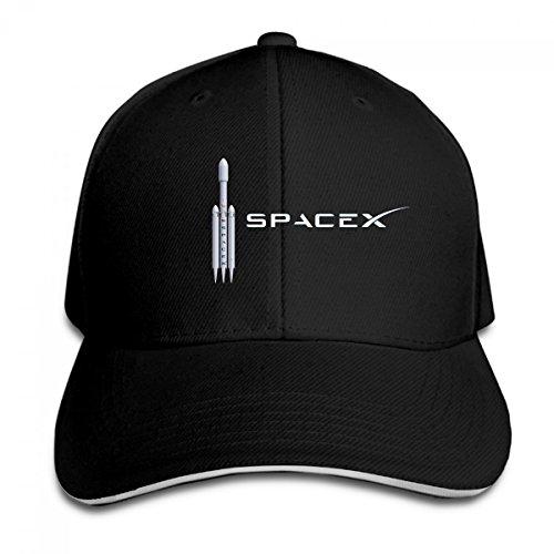 KDKIE3210 Space x SpaceX Logo Sandwich Cap Baseball Hat Adjustable Side Unisex (Black) (Pin Cap Womens)