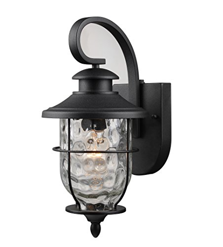 Hardware House LLC 21-2199# 1-Light Lantern with Photo Cell Black Wall Lantern Light Fixture with 1- Light Has Photo Cell For Dust To Dawn Operation Clear Water Glass Shade