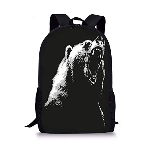 0768f6370f6 School Bags Bear,Sketch Line Art Style Roaring Carnivore Fur and Fangs  Aggressive Predator Fauna