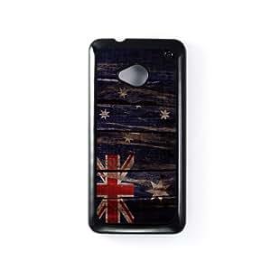 Vintage Flags - Wooden Australian Flag - Ausy Flag - Flag of Australia Carcasa Protectora Snap-On en Plastico Negro para HTC® One M7 de UltraFlags + Se incluye un protector de pantalla transparente GRATIS
