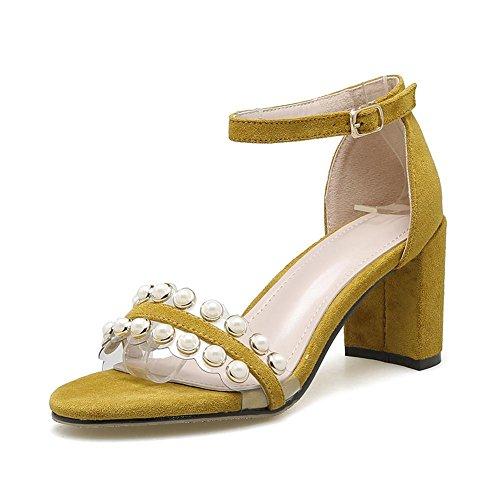 YEEY Sandalias de tacón grueso abierto del dedo del pie del zapato del talón del verano para las mujeres Yellow