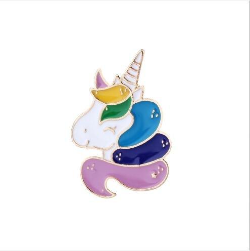 MTSZZF 1X Elegante Pin Unicornio Broche Mujeres Corsage Collar Solapa Insignia Joyas Chal Clip Lady Joyer�a