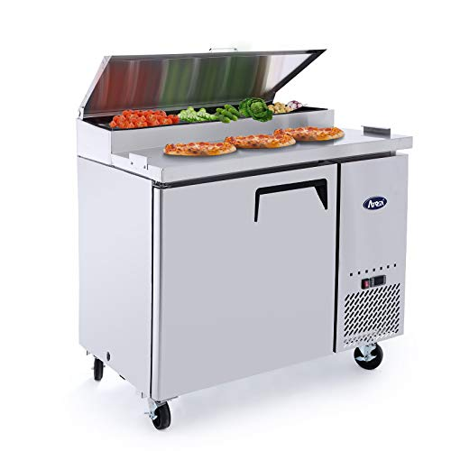 Pizza Prep Table Single Door, ATOSA Refrigeration Commercial 14 Cu.Ft. with Pans
