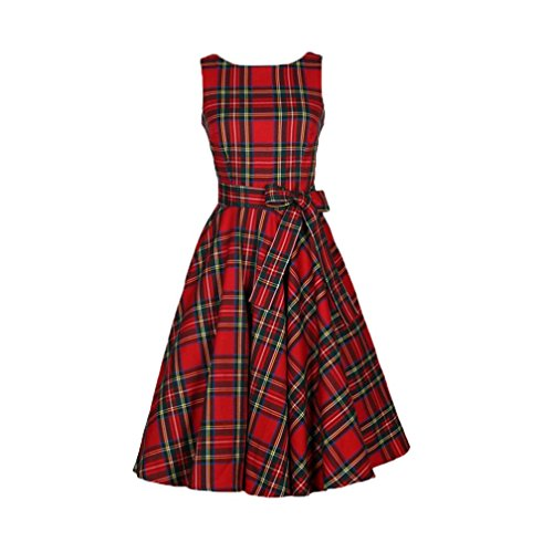 Dressin Women's Sexy Vintage Floral Prom Bodycon Dress Plaid Sleeveless Formal Evening Party Bridesmaid Cocktail Swing Dress (Red, M)