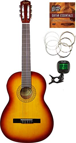 Fender Squier Classical Acoustic Guitar – Sunburst Bundle with Tuner, Foot Rest, Strings, Austin Bazaar Instructional DVD, and Polishing Cloth