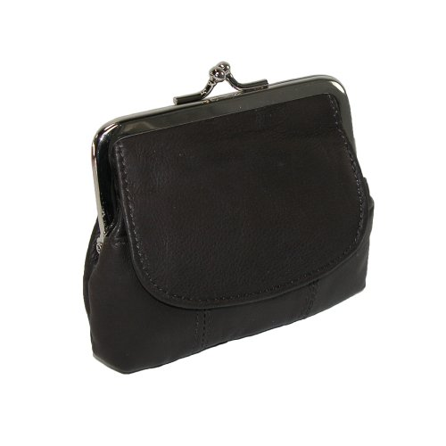 CTM Leather Double Compartment Coin Purse, Black