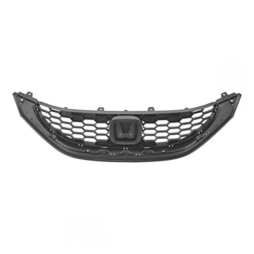 Front Upper Textured Black Grill Grille Assembly for 13-15 Honda Civic 4dr (Honda Civic 4dr Grille)