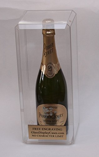 Wine - Champagne - Liquor Bottle Personalized Engraved Acrylic Display Case - Beveled Edges
