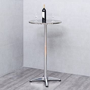 Casart Bistro Bar Table Modern Aluminium Round Folding Adjustable Table w Two Height