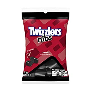 TWIZZLERS Licorice Candy, Black Licorice Nibs, 6 Ounce (Pack of 12)