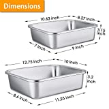 Deep Lasagna Pan Set (12.7'' & 10.7''), P&P CHEF Stainless Steel Rectangular Baking Pan for Brownie/Cake/Meat, Non-Toxic & Heavy Duty, Deep Side & Rolled Rim, Brushed Surface & Dishwasher Safe