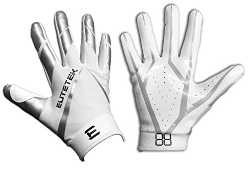 EliteTek RG-14 Football Gloves Youth and Adult (White/Silver, Youth S)