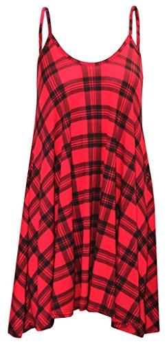 stampa Red con corto Tartan Vestito da donna RFZ4OPq