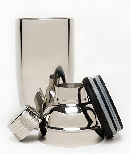 Polished Stainless-Steel Cocktail Shaker With Double Wall Design-Elegant and Sophisticated-With Jigger and Built-In Silicone Sealed Strainer-For Hot or Cold Drinks