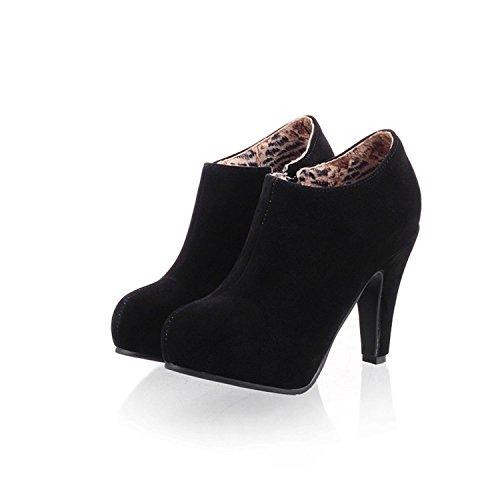Susanny High Heel Shoes Women's Fashion Sexy Platform Zipper Closure Black Dress Pumps Ankle Boots 6 B (M) US