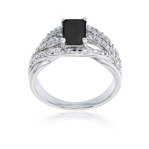 - 14K White Gold 0.10 CTTW Round Diamond & 7x5mm Octagon Onyx Ring