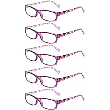 04478db62c37 Reading Glasses 5 Pairs Fashion Ladies Readers Spring Hinge with Pattern  Print Eyeglasses for Women (5 Pack Purple