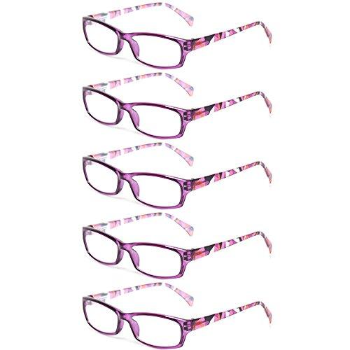 Reading Glasses 5 Pairs Fashion Ladies Readers Spring Hinge with Pattern Print Eyeglasses for Women (5 Pack Purple, -