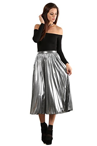 70s Look For Women (MeshMe Womens Cecilia - Silver Metallic High Waist Glitter Look Foil Glitz Glam Sparkle Pleated 70s Disco Fever Funky Party Groovy Skater Girl Dancing Magic Long Midi Skirt (NO STRETCH) Small)