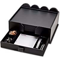 Dacasso Conference Room Set with Organizer, Bonded Leather, Black, 17 x 14, 23-piece