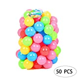 TelDen 50pcs Soft Plastic Kids Play Balls Ocean Ball – Non Toxic & BPA Free - Crush Proof & No Sharp Edges; Ideal for Baby or Toddler Ball Pit, Kiddie Pool, Indoor Playpen -6.5CM