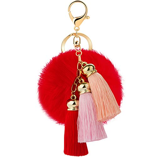 JOUDOO Rabbit Ball Keychain with Gradual Color Tassels Keyring GJ007 (red)