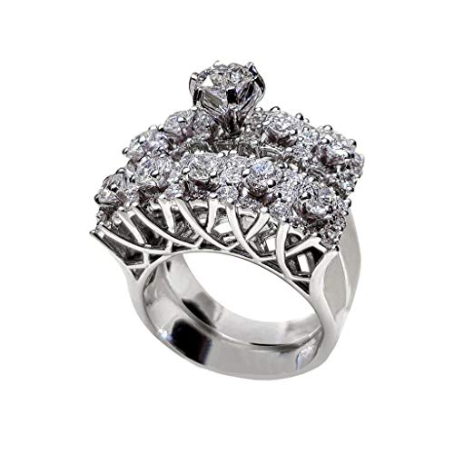 TIFENNY 2 in 1 Chic Women White Diamond Ring Set Wedding Engagement Jewelry Gift 2PCS Rings