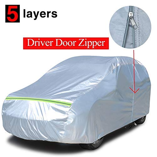 KAKIT 5 Layers SUV Cover Waterproof All Weather with Driver Door Zipper, Soft Cotton Aluminum Film SUV Car Cover with Anti-Theft Lock&Storage Bag, Fits up to 188'' ()