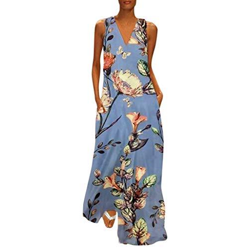 CCatyam Plus Size Dresses for Women, Print V-Neck Sexy Maxi Tank Skirt Loose Party Fashion Blue
