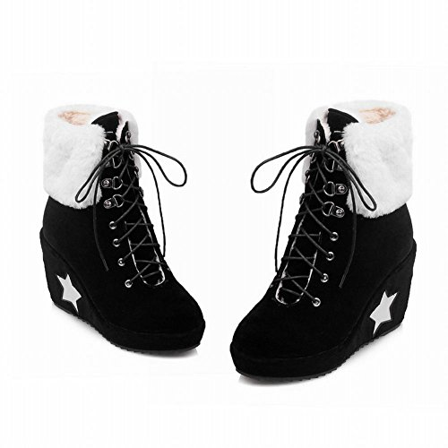 Latasa Womens Cold Weather Star Lace up Wedges Short Snow Boots Black NZ6Aka9