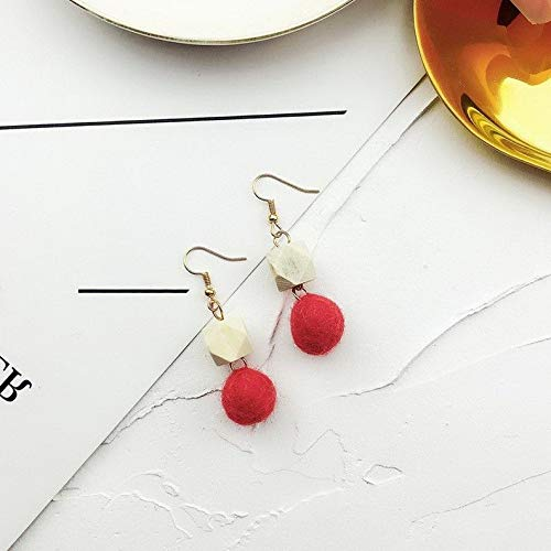 (Crookston Woman Red Pompom Ball Circle Star Fluffy Fur Ball Bowknot Stud Earrings Jewelry | Model ERRNGS - 1845)