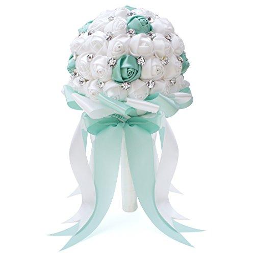 (FAYBOX Crystal Satin Rose Bridal Bridesmaid Bouquets Wedding Flower Decor)
