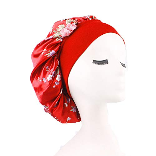 (Womens Sleeping Cap Silk Satin Bonnets Hat Wide Band Night Caps Head Cover for Hair (One Size, Red))
