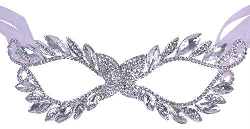 [Fancy Masquerade Mask Shiny Rhinestone Studded Eyes Venetian Rhinestone Mask] (Simple Halloween Masks)