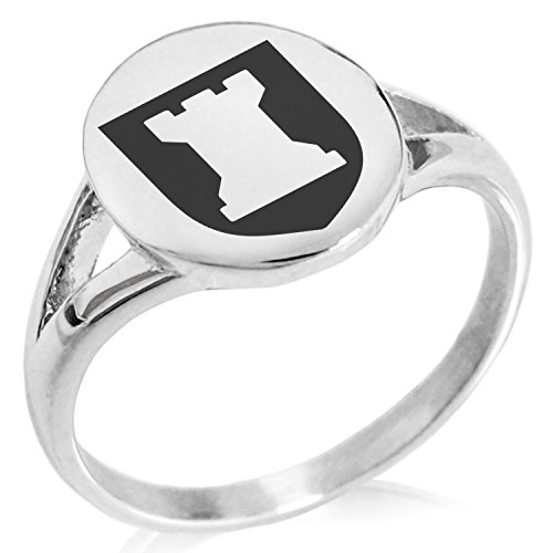 Tioneer Stainless Steel Rook Strategy Coat of Arms Shield Symbol Minimalist Oval Top Polished Statement Ring, Size 5 by Tioneer