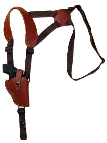 Barsony Burgundy Leather Vertical Cross Harness Shoulder Holster for COLT DSII/38 SPF VI Right