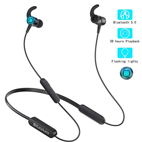 Wireless Headphones, Kalakate Bluetooth 5.0 Sport Earbuds, IPX6 Waterproof in-Ear Earphones with 38 Hours Playtime, HiFi Stereo Running Headphones with Magnetic Connection Built-in Mic