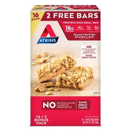 Atkins Meal Bar Peanut Butter Granola Pack 16 Bars - Delivery Within 2-3 Days by Atkins (Image #1)