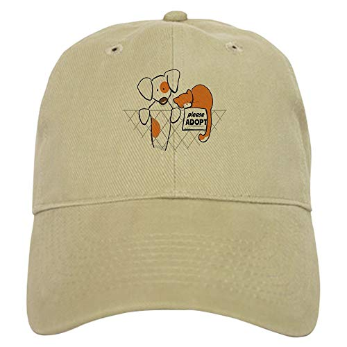 CafePress Adopt Pets Patch Rusty Baseball Cap with Adjustable Closure, Unique Printed Baseball Hat Khaki