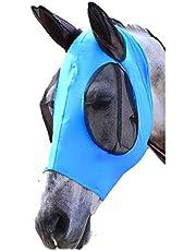 Elastic Fly Mask Lycra Mesh Cover UV-Blocker Ears Eyes Protection for Arab Horse Pony Cob Black/Blue/Pink/Purple Riding