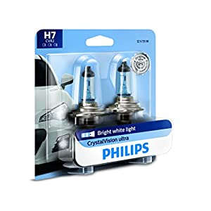 Philips H7 CrystalVision Ultra Upgrade Headlight Bulb, 2 Pack